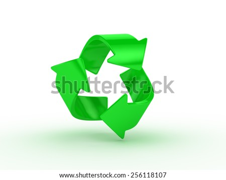 Hight resolution render of recycle logo on white background - stock photo
