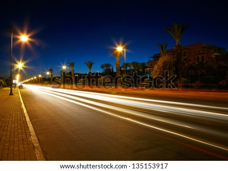 Highway at dusk - stock photo