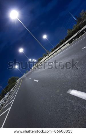 Highway at night in Tel Aviv. Yom Kippur. - stock photo