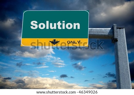 Highway billboard the word solution on it - stock photo