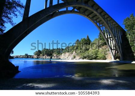 Highway 1 bridge over Russian Gulch State Park along Mendocino coast - stock photo