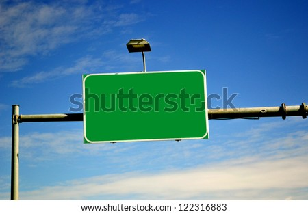 Highway empty sigh with lamp - stock photo