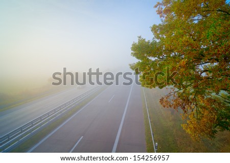 highway, fog, autumn, foliage - stock photo