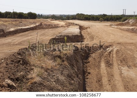 Highway fragment view of the road under reconstruction - stock photo