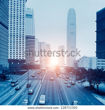 Highway heading to the city - stock photo