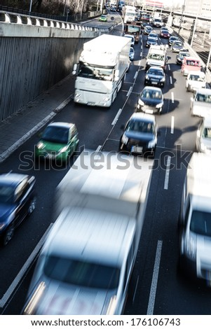 highway in early morning in berlin - stock photo