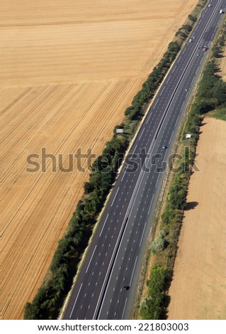 highway in farmland in france country  - stock photo