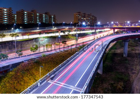 Highway in Seoul at night - stock photo