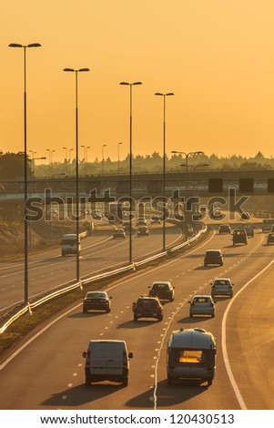 Highway in The Netherlands in the afternoon - stock photo