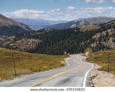 Highway 82, Independence Pass near Aspen, Colorado Rocky Mountains. - stock photo
