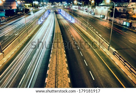 highway - long exposure - Tel Aviv Israel - stock photo