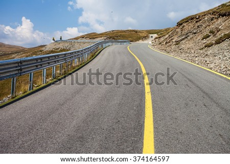 highway mountain road, serpentine - stock photo