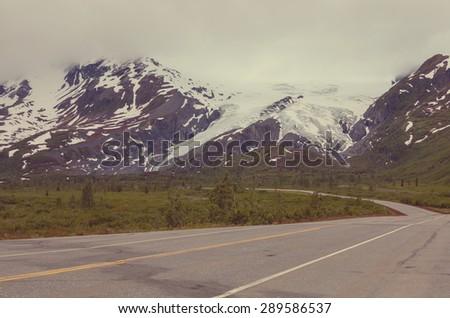 highway on Alaska - stock photo