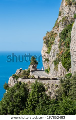 Highway on the edge of the Amalfi coast in southern Italy. - stock photo