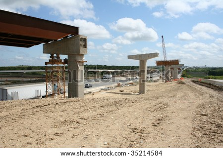 Highway overpass under construction - stock photo