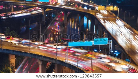 Highway road and river - stock photo