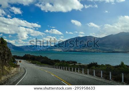 Highway road freeway near lake Wanaka, South Island, New Zealand - stock photo