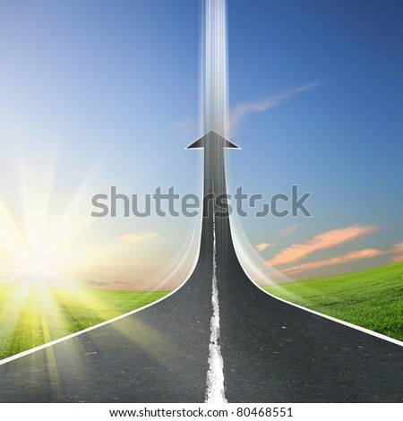 highway road going up as an arrow - stock photo