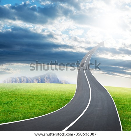 Highway road going up as an arrow in cloudy sky - stock photo