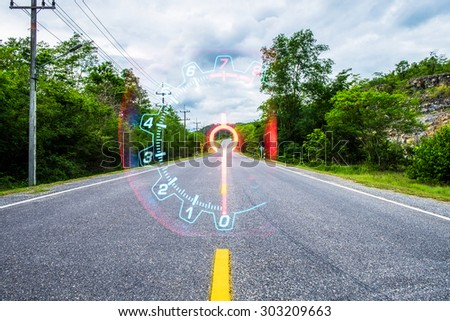Highway road nature environment countryside mile car - stock photo
