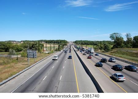 Highway scene of driving cars. Traffic. - stock photo