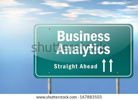 Highway Signpost Business Analytics - stock photo