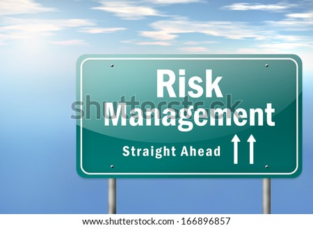 Highway Signpost Risk Management - stock photo