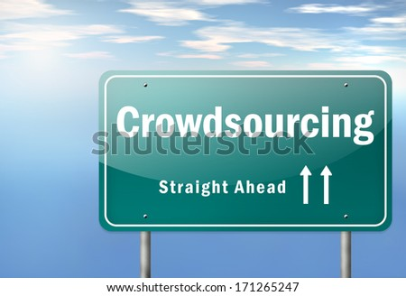 Highway Signpost with Crowdsourcing wording - stock photo