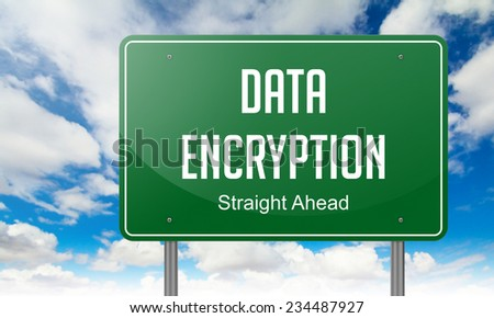 Highway Signpost with Data Encryption Wording on Sky Background. - stock photo