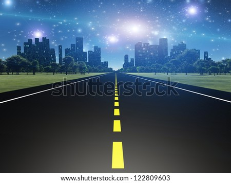 Highway to city - stock photo