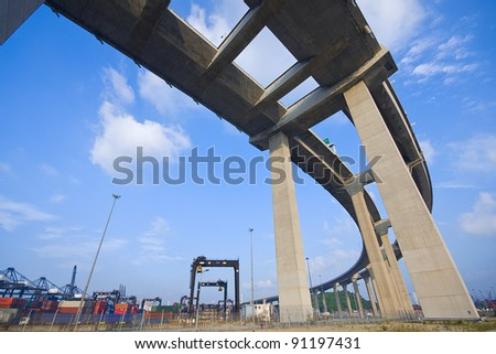 highway to container harbour - stock photo