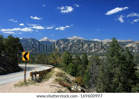 Highway to the Rocky Mountains - stock photo