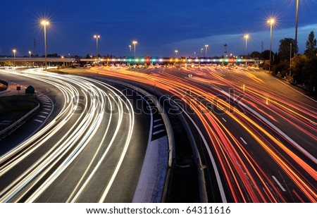 highway toll gate in the south of France - stock photo