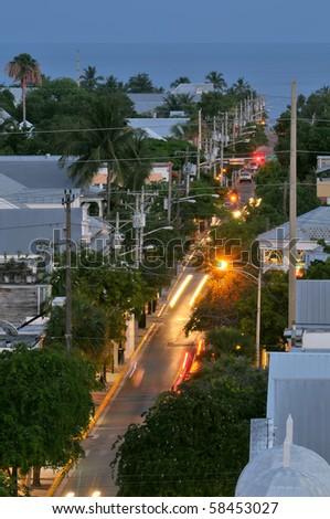 highway us1 in key west florida at dusk - stock photo