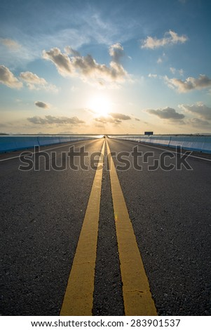 Highway Views with sunset - stock photo