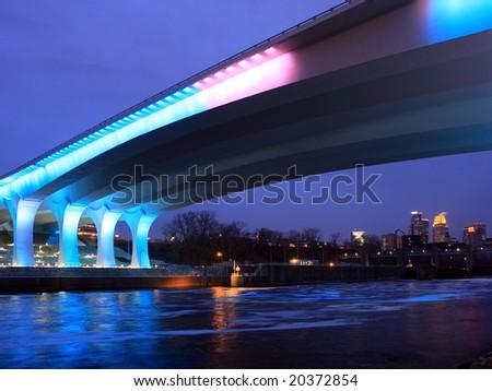 Highway 35W bridge over Mississippi river in Minneapolis - stock photo