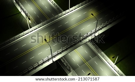 Highway with overpass bridge at night with lights closeup  - stock photo