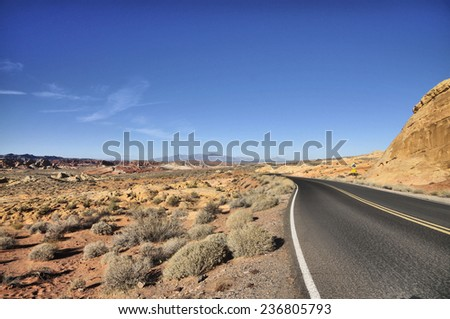 Highways and roads at the Valley of Fire / Road Side - stock photo