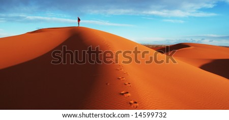 Hike in sand desert - stock photo