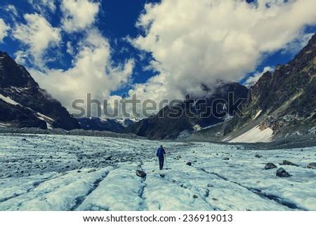 Hike in Svaneti mountains - stock photo