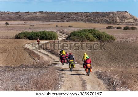 Hike the mountain biking on mountain serpentine  - stock photo