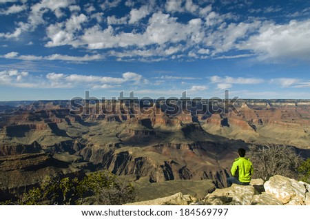 Hiker at the Grand Canyon. America / USA / Grand Canyon Background /  Las Vegas / New Mexico - stock photo