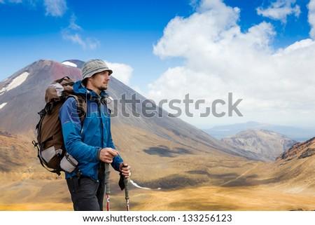 hiker enjoy sunny day - stock photo