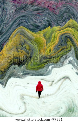 Hiker in Red Parka walking among abstract pathway to forest - stock photo