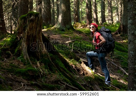 Hiker in the mountain forest - stock photo