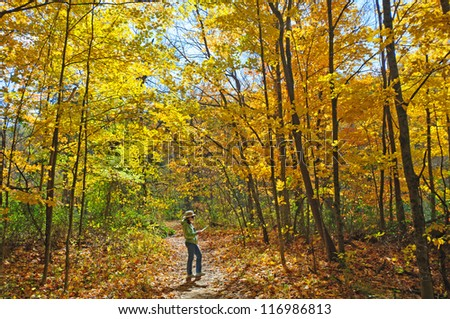 Hiker on the HHC trail in Brown County State Park - stock photo