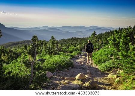 Hiker, Rocky Mountain National Park, Colorado, USA - stock photo