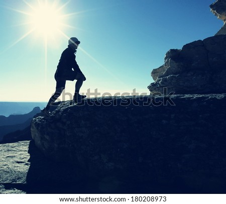 Hiker silhouette - stock photo