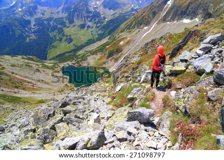 Hiker woman admires the landscape from the mountain trail in fine day of summer - stock photo