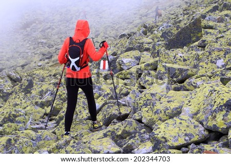 Hiker woman follows a trail on large boulders covered by fog - stock photo